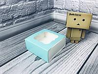 *50 шт* / Коробка для пряников / 80х80х35 мм / печать-Бирюз / окно-обычн, фото 1