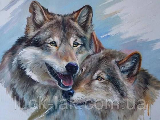 Алмазная вышивка влюбленные волки, полная выкладка, 30х40 см