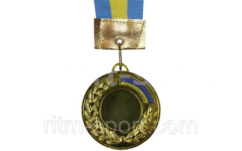 Медаль спортивна зі стрічкою та місцем під жетон