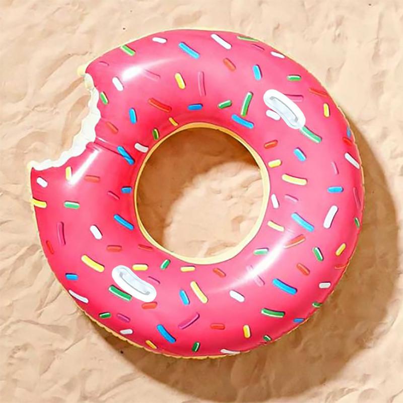 Надувной круг Пончик с ручками, 90 см.