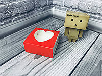 *50 шт* / Коробка для пряников / 80х80х35 мм / печать-Красн / окно-СЕРДЦЕ, фото 1