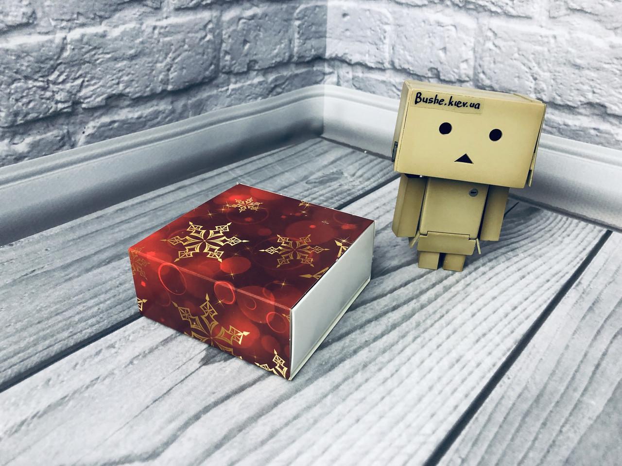 Коробка для пряников / 80х80х35 мм / печать-Снег.Красн / б.о. / НГ