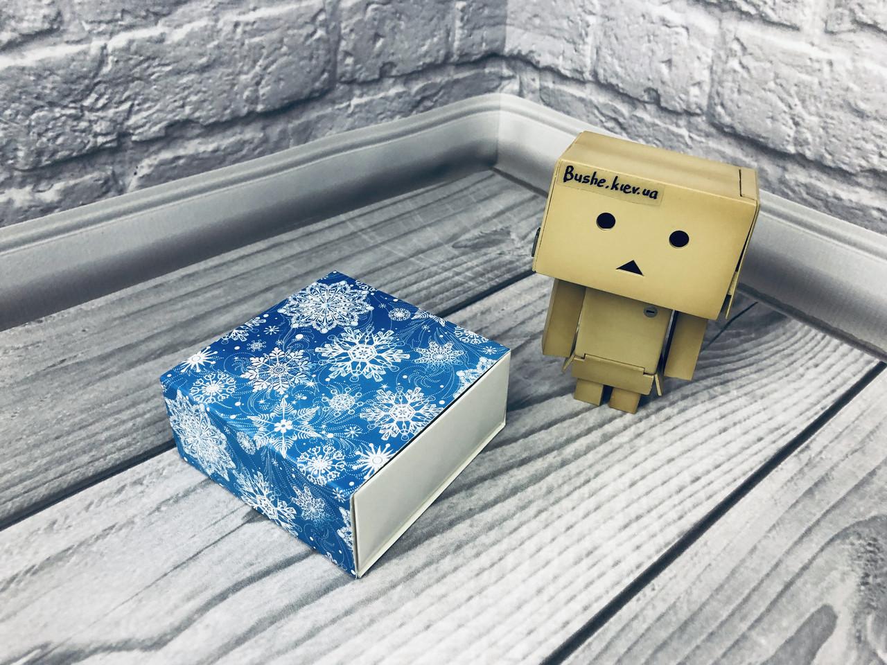 Коробка для пряников / 80х80х35 мм / печать-Снег.Син / б.о./ НГ