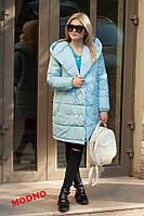 Зимнее теплое плащевое пальто с капюшоном r7102163, фото 1