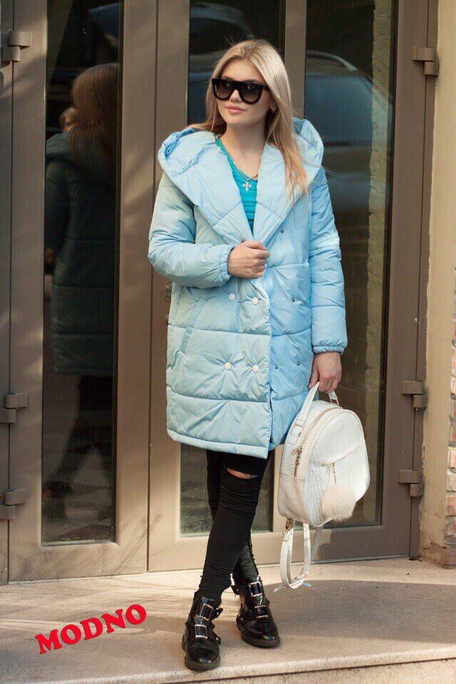 Зимнее теплое плащевое пальто с капюшоном r7102163