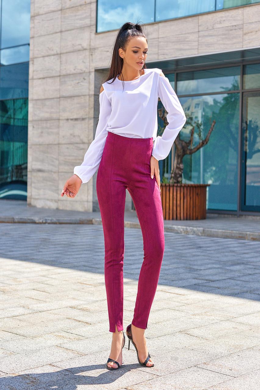 Женские брюки из эко-замша марсала молодёжные повседневные элегантные