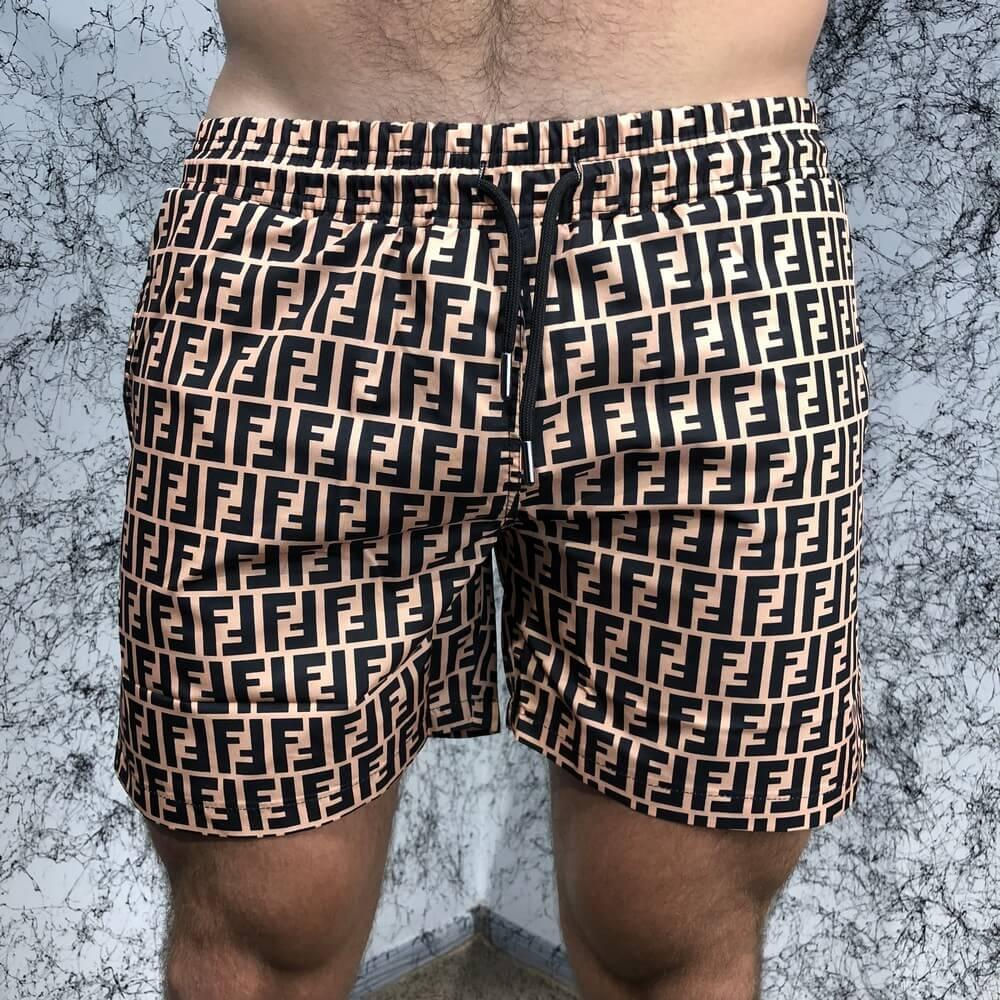 Мужские плавательные шорты Fendi FF Logo Bronzo/Black
