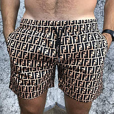 Мужские плавательные шорты Fendi FF Logo Bronzo/Black, фото 2
