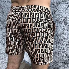 Мужские плавательные шорты Fendi FF Logo Bronzo/Black, фото 3
