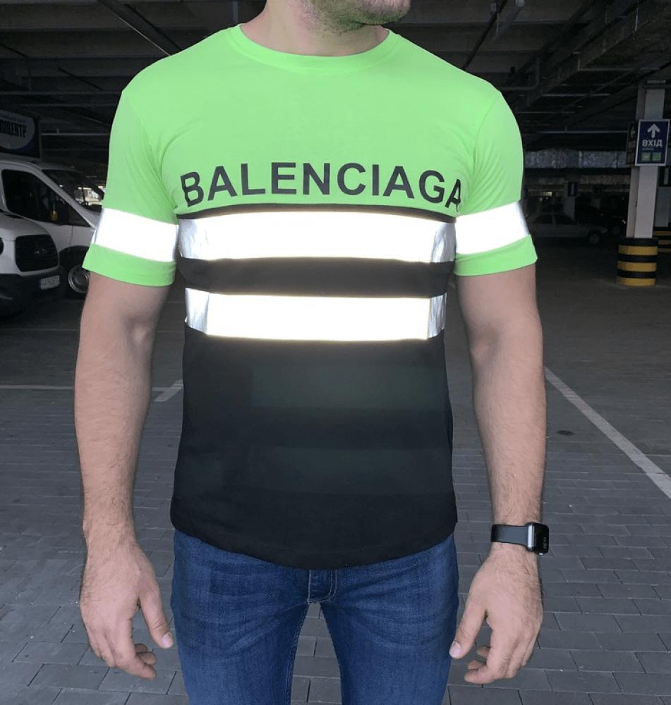 Мужская футболка Balenciaga Logo Reflective Neon Green