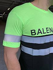 Мужская футболка Balenciaga Logo Reflective Neon Green, фото 3