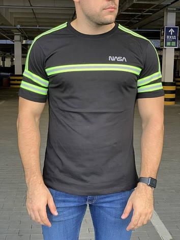 Мужская футболка Alpha Industries Nasa Logo Reflective Black, фото 2