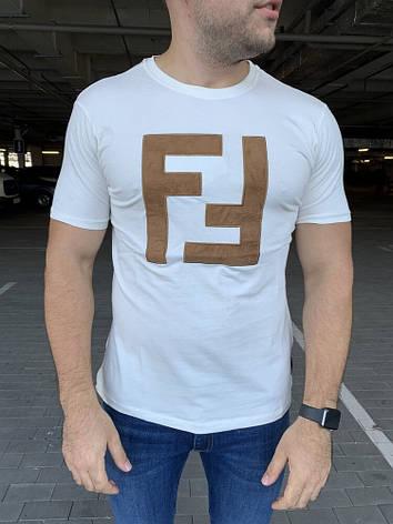 Мужская футболка Fendi Double F White, фото 2