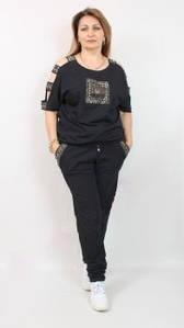 Турецкий летний женский брючный костюм со стразами, 52-62