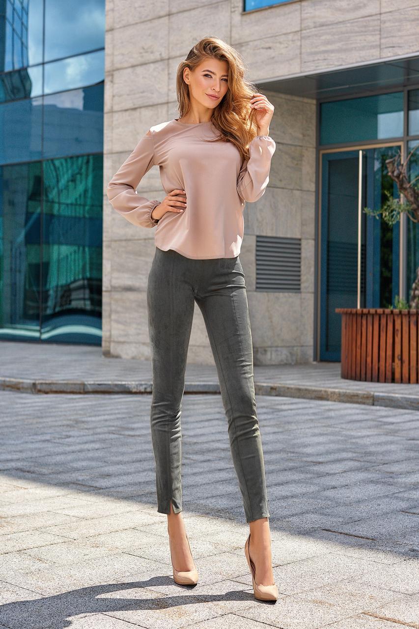 Молодёжные серые брюки эко-замша повседневные элегантные