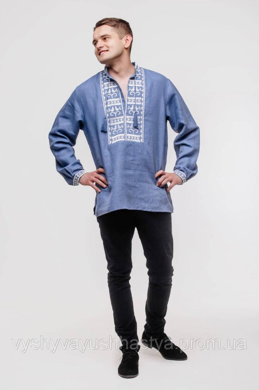 "Модная современная льняная мужская вышиванка ""Атаман"". Парные вышитые комплекты."