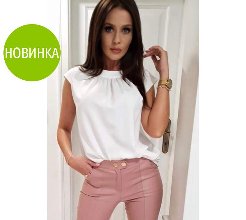 Модная легкая летняя женская блуза с круглым воротником без рукавов белая
