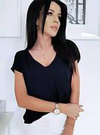 Легкая летняя женская блуза свободного кроя с коротким рукавом черная