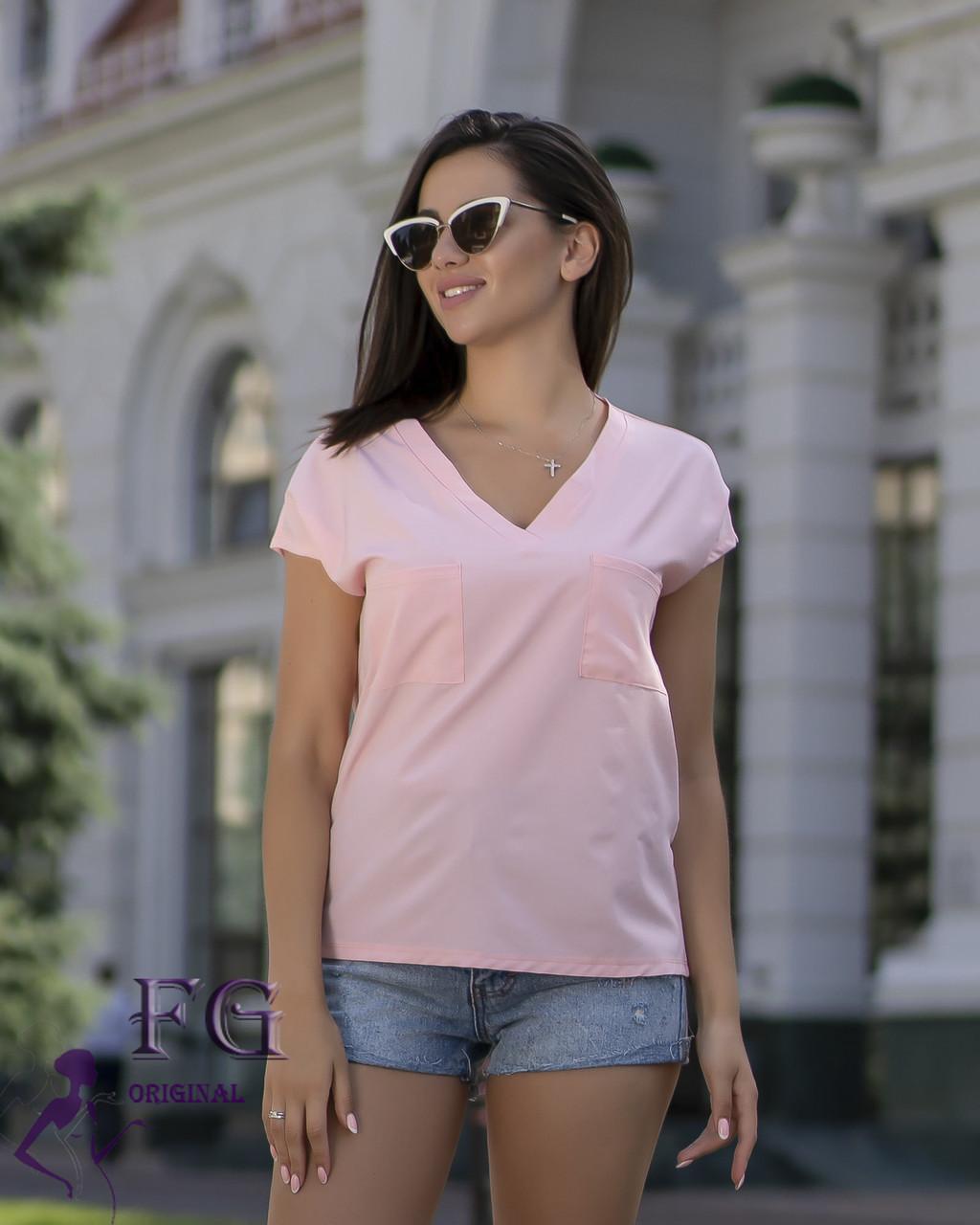 Легкая летняя женская блуза свободного кроя с коротким рукавом персиковая