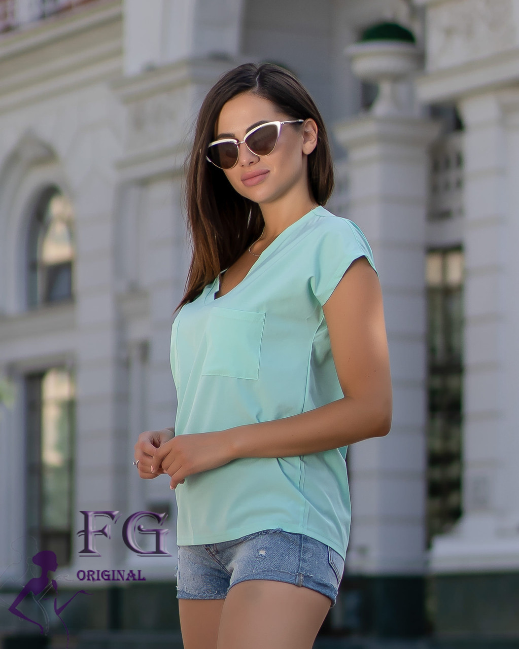 Легкая летняя женская блуза свободного кроя с коротким рукавом мятная