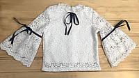 Школьная блузка макраме для девочки 7-11 лет, школьная форма 2019