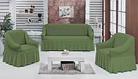 Чохол на диван і крісла зелений-оливка Туреччина