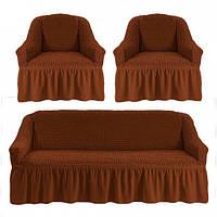 Чохол на диван і крісла темно рудий Туреччина