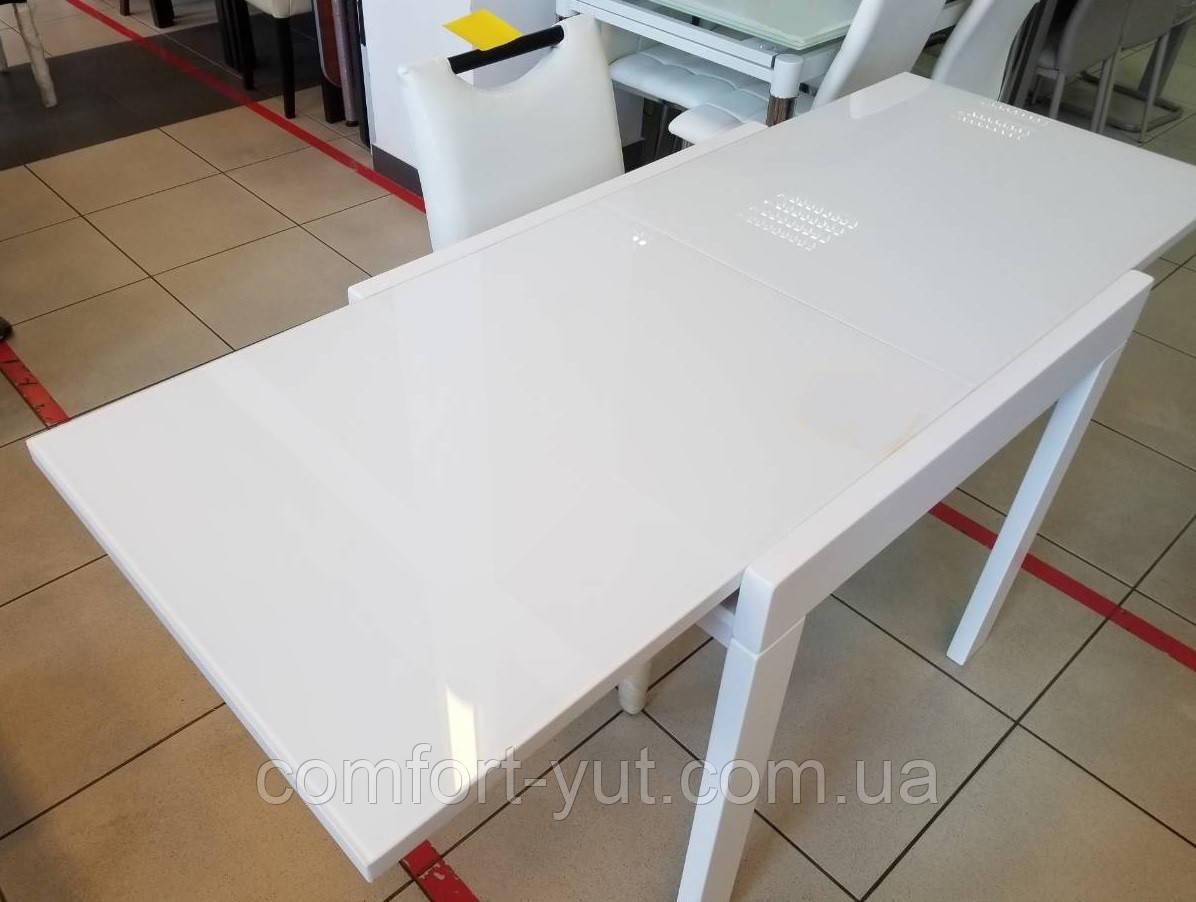 Стол обеденный Слайдер белый со стеклом(ультрабелый),100(+100)*82см