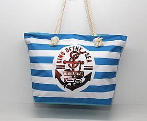 Женская тканевая пляжная сумка с канатными ручками и рисунком морской тематики