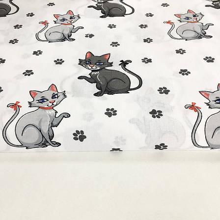 """Польская хлопковая ткань """"кошки серые с лапками на белом"""", фото 2"""