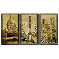 Оригинальные часы на модульных картинах для интерьера дома IdeaX Paris, 90х52 см