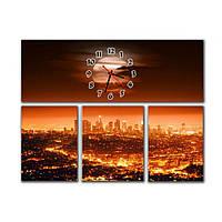 Оригинальные часы на модульных картинах для интерьера дома IdeaX Вечерний мегаполис, 90х67 см