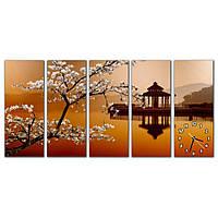Оригинальные часы на модульных картинах для интерьера дома IdeaX Сакура, 150х75 см