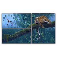 Стильные составные картины с часами для зала IdeaX Леопард на дереве, 66х38 см
