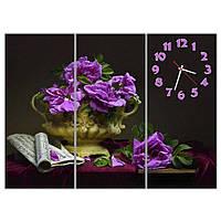 Модульные настенные часы IdeaX Фиолетовая композиция, 90х68 см