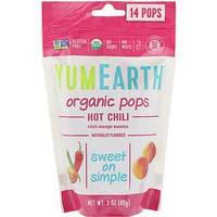 Органические леденцы,14 леденцов, 85 г, манго-чили, YumEarth, Organic Pops