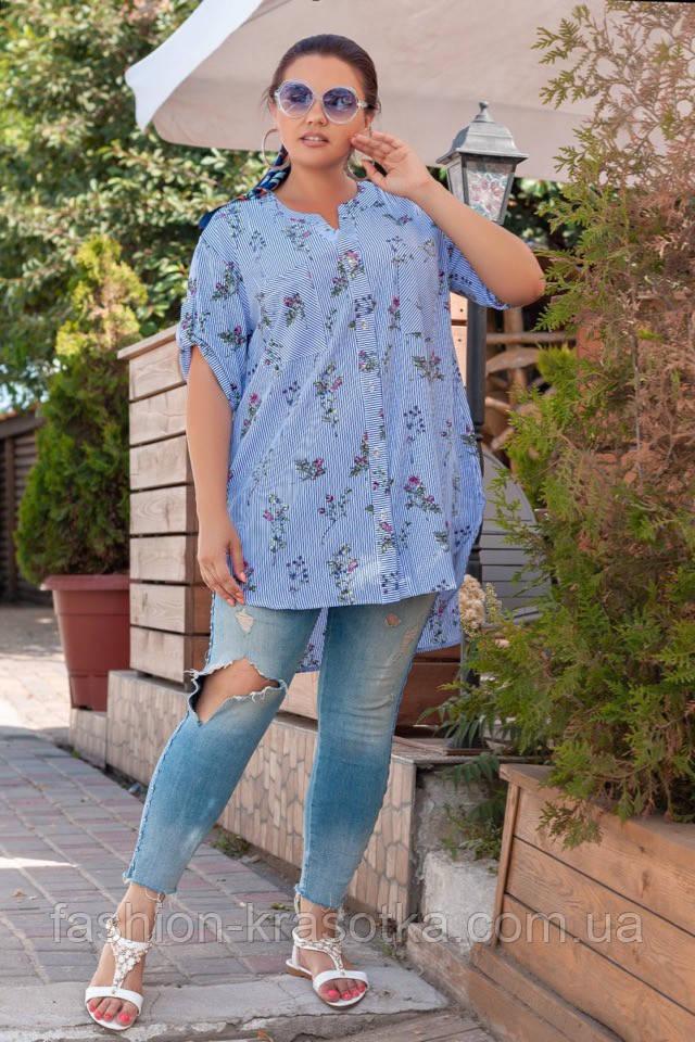 Модная женская рубашка,ткань коттон,размеры:52,54,56.