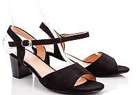 Женские замшевые босоножки черного цвета устойчивый каблук 41 р  26,5 см