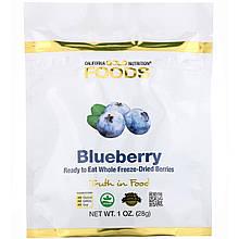 "Черника California GOLD Nutrition ""Freeze Dried Blueberry"" сушеные кусочки (28 г)"