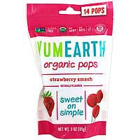 Органические леденцы, 14 леденцов, 85 г, клубника, YumEarth, Organic Pops