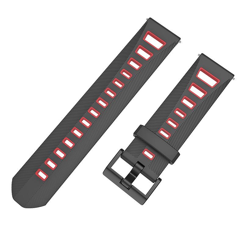 Ремешок BeColor силиконовый для Samsung Galaxy Watch 42 mm Черно-красный (1011913)