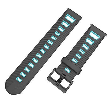 Ремешок BeColor силиконовый для Xiaomi Amazfit Bip Черно-Голубой (1011918), фото 2