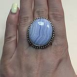 Сапфирин красивое круглое кольцо с камнем голубой агат сапфирин в серебре. Кольцо с сапфирином 19 размер Индия, фото 2