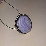 Сапфирин красивое круглое кольцо с камнем голубой агат сапфирин в серебре. Кольцо с сапфирином 19 размер Индия, фото 3