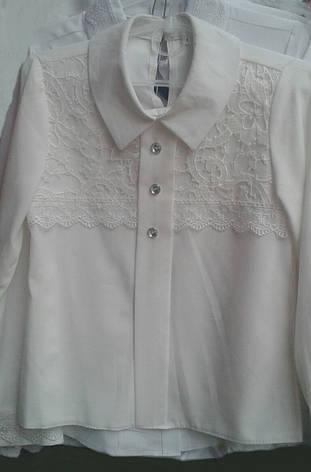 Оригинальная школьная блузка с белым кружевом р.116-146, фото 2