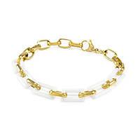 Керамический браслет прямоугольные звенья 17 - 20.5 см Бело-золотистый BS005CR, КОД: 973946