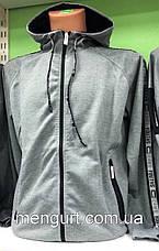 Толстовка(батник)мужская тонкая с  капюшоном на застежке Польша  оптом, фото 2