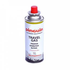 Туристический газовый баллон Pinguin цанговый 220 грамм.. Туристичний газовий балон 220 грам.
