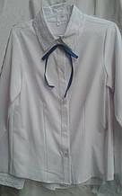 Легкая модная школьная блузка с кружевом на воротнике и манжетах р.116-146