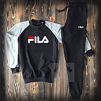 Спортивный костюм мужской в стиле FILA grey-black | весенний